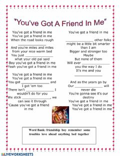 Ficha interactiva Toy story song - you've got a friend in me