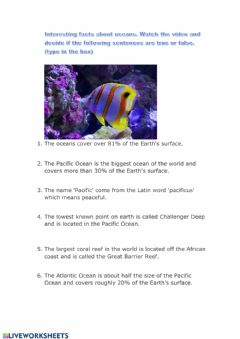 Interactive worksheet Interesting facts about oceans