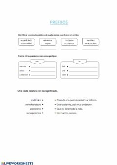 Interactive worksheet Prefijos