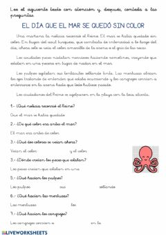 Interactive worksheet El día que el mar se quedó sin color