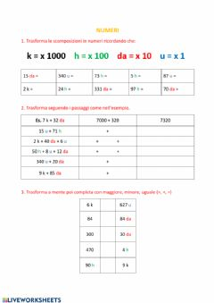 Interactive worksheet Scomporre e ricomporre numeri