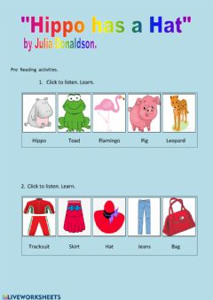Interactive worksheet HIPPO HAS A HAT:- Pre Reading Worksheet