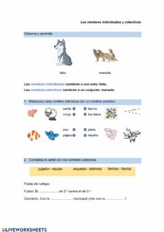 Interactive worksheet nombres individuales y colectivos