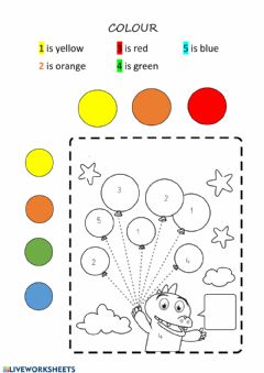 Interactive worksheet Colour the ballons