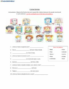 Interactive worksheet El arbol familiar