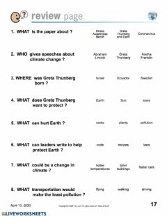 Interactive worksheet Earth Day N2Y Questions