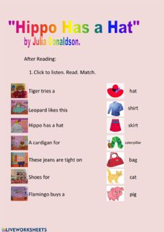 Interactive worksheet HIPPO HAS A HAT.- After reading worksheet