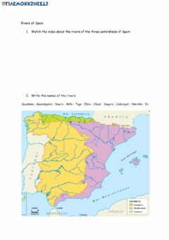 Interactive worksheet Rivers of Spain