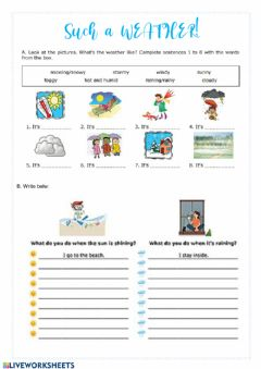 Interactive worksheet Such a WEATHER!