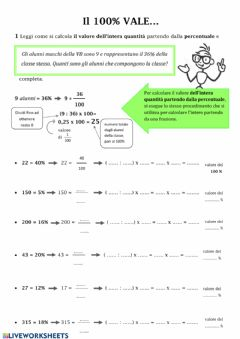 Interactive worksheet Dalla percentuale all'intero