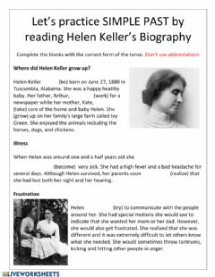 Interactive worksheet Helen Keller Simple PAst