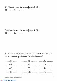 Interactive worksheet SÈRIES 1
