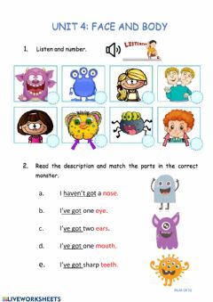 Interactive worksheet Face and body
