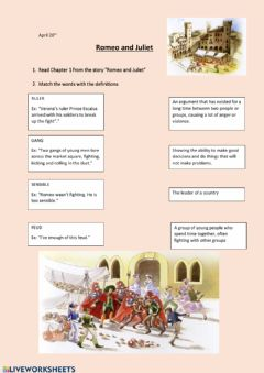 Interactive worksheet Romeo and Juliet