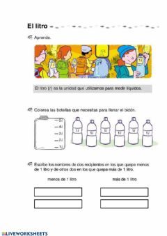 Interactive worksheet El litro