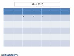 Interactive worksheet Calendario de abril 2020