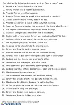 Interactive worksheet Murder in a Country House True or False Questions