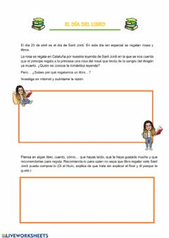 Interactive worksheet El día del libro