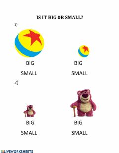 Interactive worksheet BIG AND SMALL (toys)