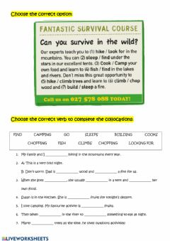 Interactive worksheet Camping vocabulary