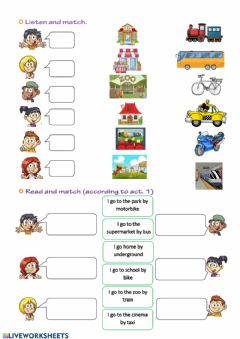 Interactive worksheet Place & go by II