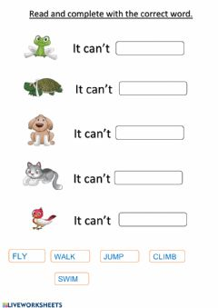 Interactive worksheet What can't they do?