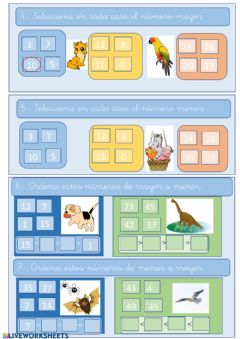 Interactive worksheet Numeros mayor y menor