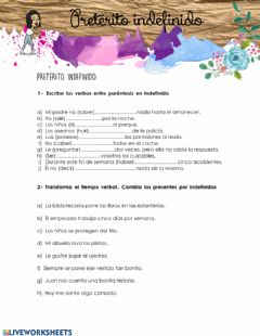 Interactive worksheet Pretérito indefinido