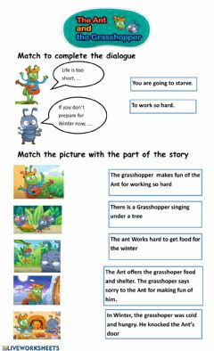 Interactive worksheet The Ant and the Grasshoper