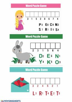 Interactive worksheet PUZZLES Games