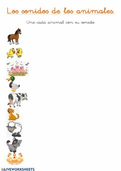 Interactive worksheet Los sonidos de los animales