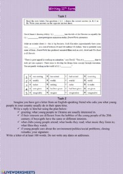 Interactive worksheet Control writing 11th form