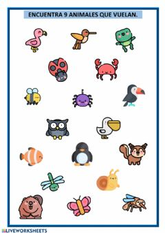 Interactive worksheet Animales que vuelan