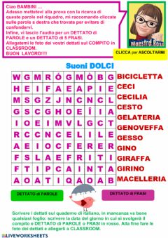 Interactive worksheet Wordsearch suoni dolci