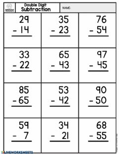 Interactive worksheet Double digit subtraction