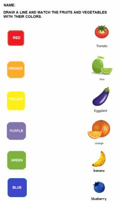 Interactive worksheet Match the colors with the fruits