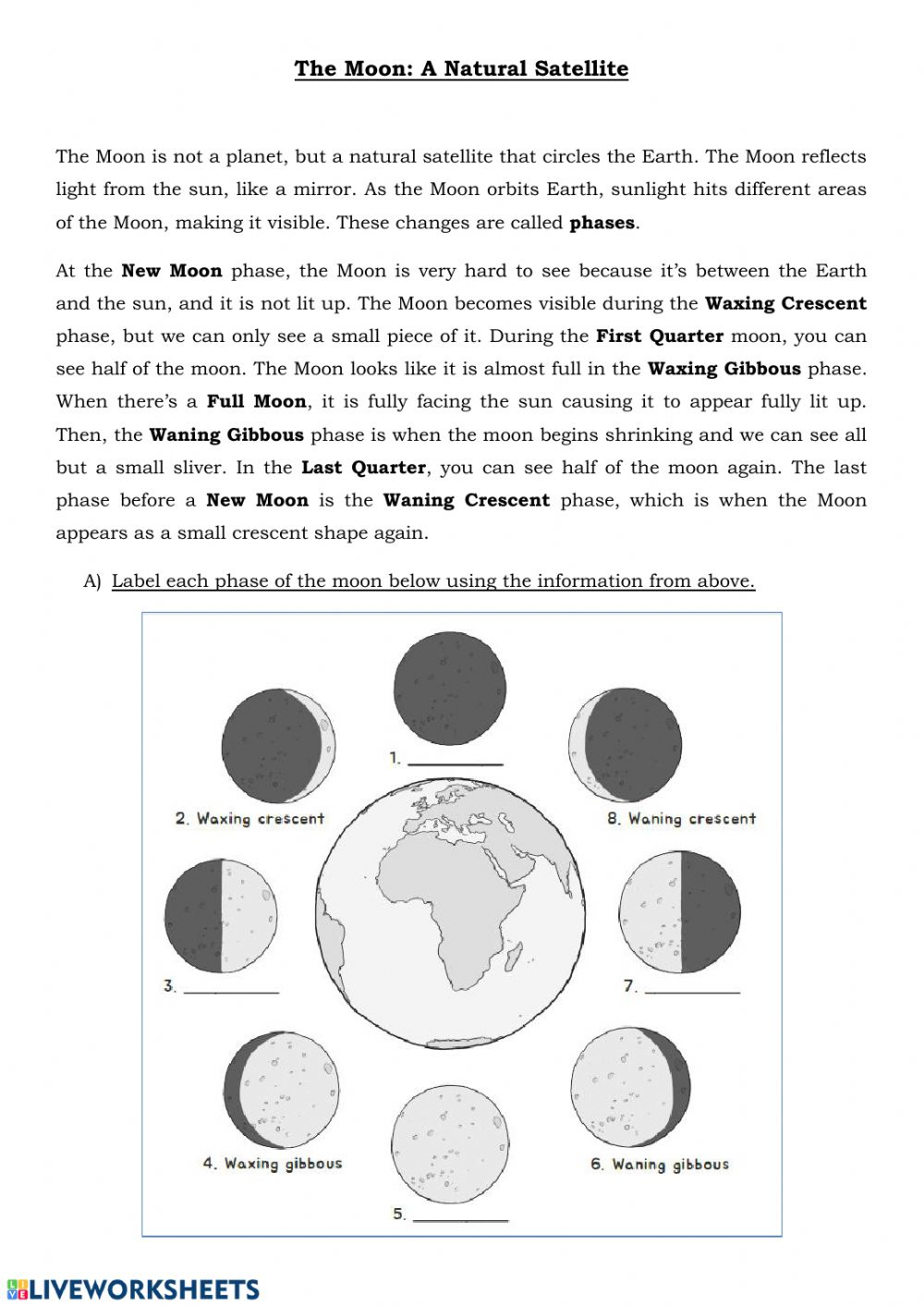 The Moon Phases and Eclipse worksheet Intended For Moon Phases Worksheet Pdf