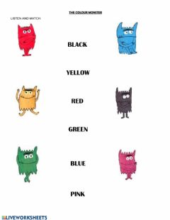 Interactive worksheet The Colour Monster