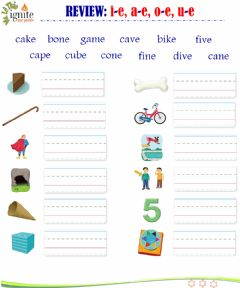 Interactive worksheet Phonics - Review a-e, i-e, o-e, u-e