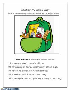 Ficha interactiva What is in My School Bag?