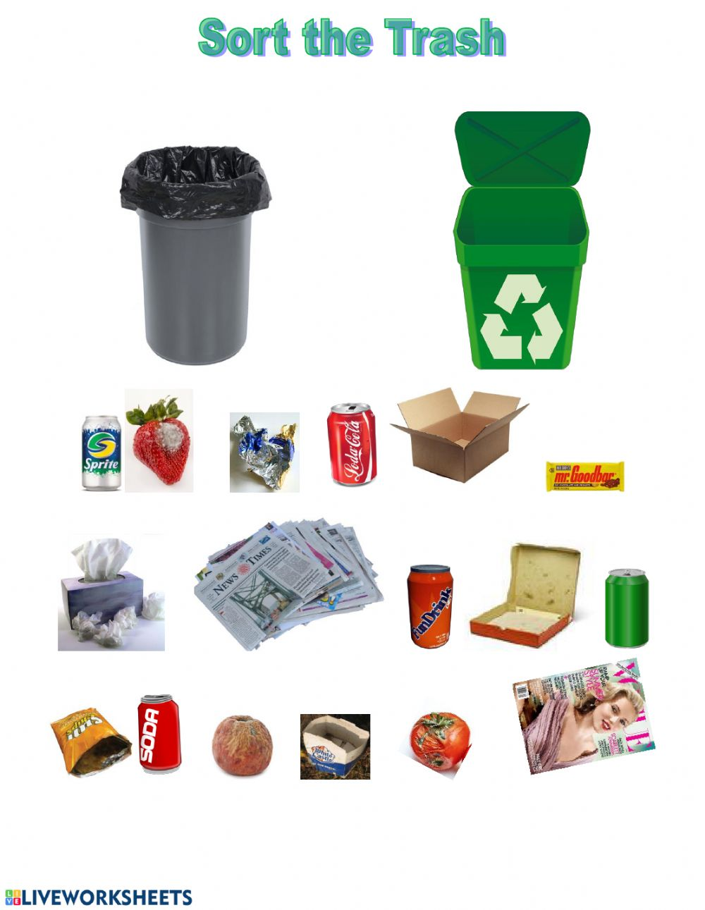 36+ Recycling Sorting Worksheets For Kindergarten Background