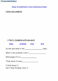 Interactive worksheet Song: Accidentally in Love