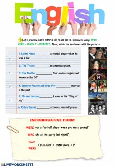 Ficha interactiva Past simple of verb to be (interrogative)