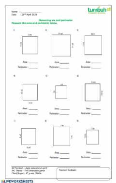 Interactive worksheet Measuring area and perimeter