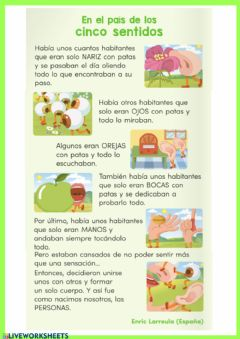 Interactive worksheet Los sentidos 2