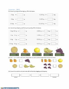 Interactive worksheet Convert and compare mass