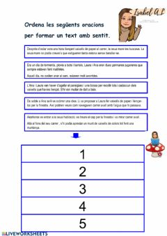 Interactive worksheet Ordena el text