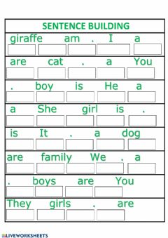 Interactive worksheet Sentence building 1