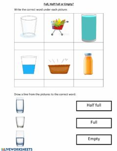 Interactive worksheet Full, Half full or Empty