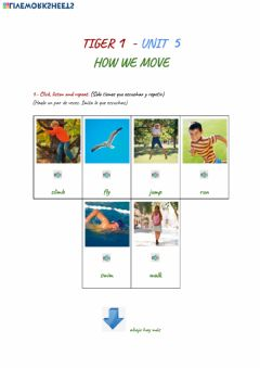 Interactive worksheet Tiger 1 Unit 5 How we move